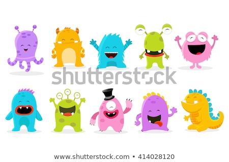 komik · canavarlar · ayarlamak · küçük · kırmızı · yabancı - stok fotoğraf © genestro
