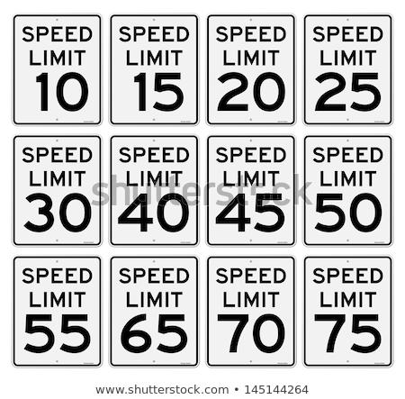 30 · sebesség · jelzőtábla · fehér · út · rendőrség - stock fotó © stevanovicigor