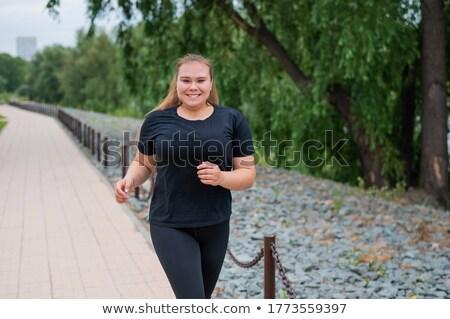 Otyły kobieta szkolenia ilustracja dziewczyna kobiet Zdjęcia stock © adrenalina
