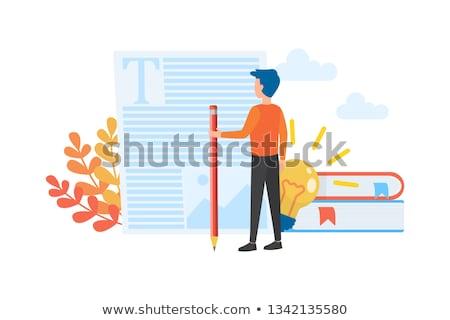 Independiente palabra bloc de notas pluma oficina trabajo Foto stock © fuzzbones0