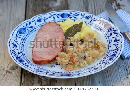Stock photo: Smoked pork with mashed potato