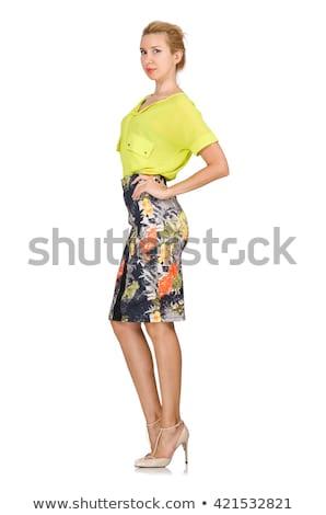 Alto modelo amarillo blusa aislado blanco Foto stock © Elnur