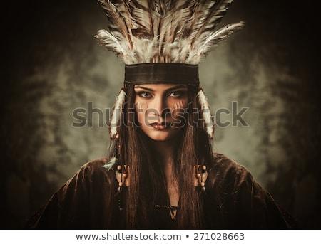 Indian cacciatore illustrazione uomo silhouette cultura Foto d'archivio © adrenalina
