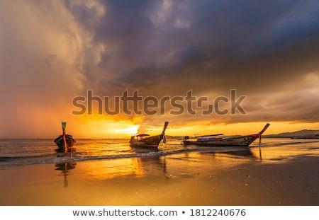 Foto stock: Barcos · puesta · de · sol · Tailandia · barco · silueta · Asia