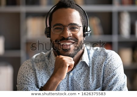 Fone microfone branco foco internet Foto stock © peterguess