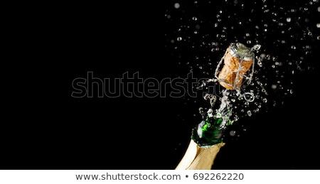 lege · glas · fles · witte · wijn · blauwe · hemel · wijn - stockfoto © restyler