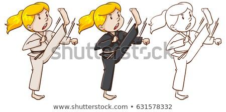 karate · illustratie · meisjes · vrouw · sport · leuk - stockfoto © bluering