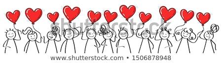 Szív bot piros fából készült izolált fehér Stock fotó © ajt