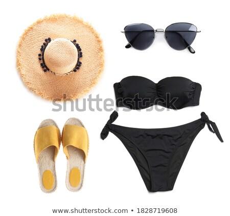 женщину элегантный черный Hat купальник Сток-фото © alphaspirit