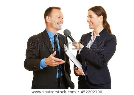 記者 · インタビュー · ビジネスマン · クローズアップ · 手 · テレビ - ストックフォト © andreypopov