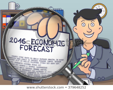 2016 Economic Forecast through Magnifying Glass. Doodle Style. Stock photo © tashatuvango