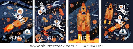 cohete · retro · anunciante · estilo · ilustración · diseno - foto stock © olena