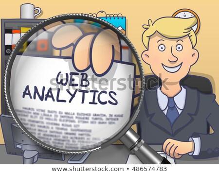 Web analytics loupe doodle style papier Photo stock © tashatuvango