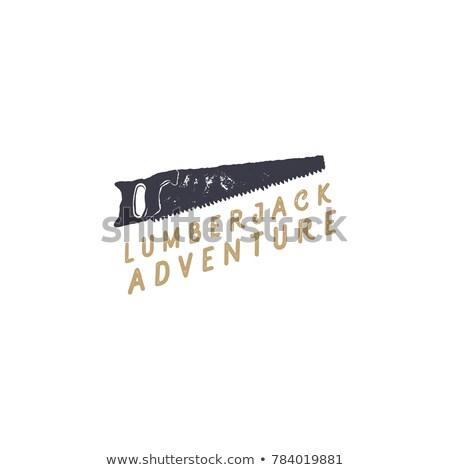 Bûcheron vu conception de logo typographie vintage dessinés à la main Photo stock © JeksonGraphics