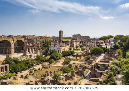 panoramic view the colosseum and roman forum from palantine hill rome italy stock photo © ankarb