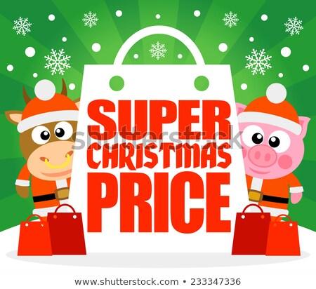 Wspaniały christmas cena karty byka wieprzowych Zdjęcia stock © Dimpens