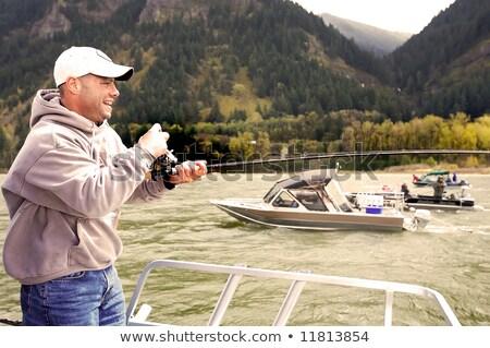 Foto stock: Pescaria · nebuloso · rio · barcos · manhã · eletricidade