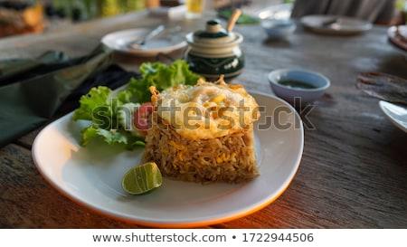 Zöld zöldség tükörtojás étterem főzés Ázsia Stock fotó © M-studio