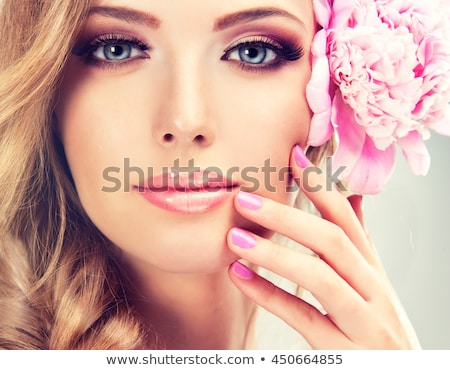 beautiful girl with pink makeup and flowers stock photo © svetography