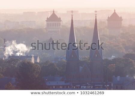 Kilise eski su towers Riga Letonya Stok fotoğraf © benkrut