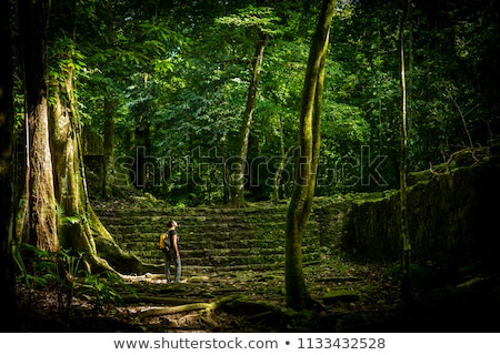 Vrouw jungle ruines alleen oude Stockfoto © THP