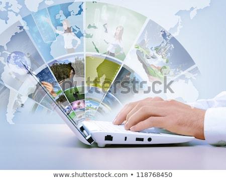 Laptop képernyő különböző nyitott könyv fa technológia Stock fotó © wavebreak_media