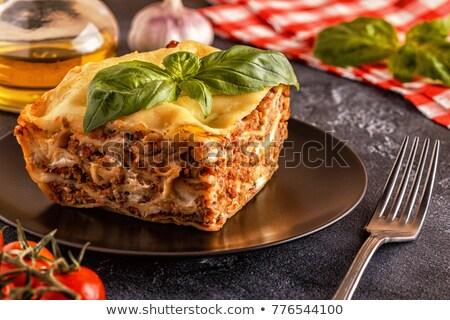 lazanya · et · peynir · çanak · gıda · arka · plan - stok fotoğraf © m-studio