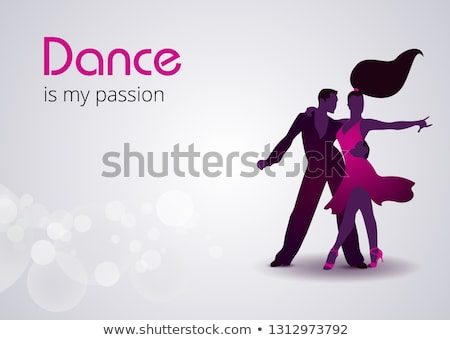 ballroom night party flyer illustration with couple dancing tango on purple background vector desig stock photo © articular