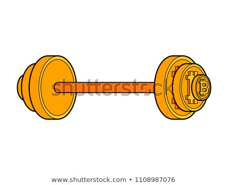 Bitcoin barbell isolated. Crypto currency is strength. Vector il Stock photo © MaryValery