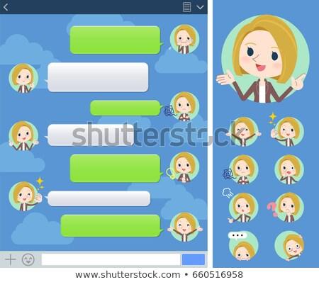 blond hair woman White sns window Stock photo © toyotoyo