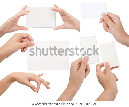 Isolado cartão mão branco negócio textura Foto stock © Suriyaphoto