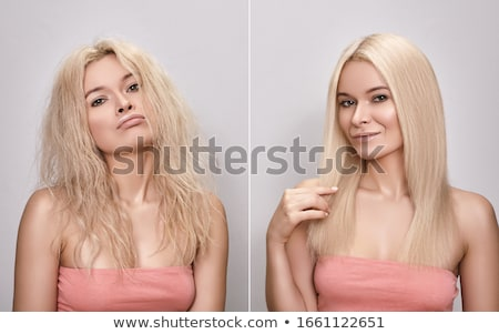 Portrait Of A Woman Before And After Hair Straightening Stock photo © AndreyPopov