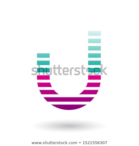 Green and Magenta Letter U Icon with Horizontal Thin Stripes Vec Stock photo © cidepix