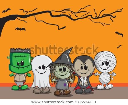 felice · halloween · carta · giovani · strega · zucche - foto d'archivio © artspace