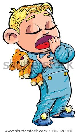 Cartoon · мальчика · исчерпанный · иллюстрация · работает · глядя - Сток-фото © cthoman