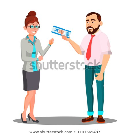 Man Presenting Airplane Ticket To Happy Woman Vector. Isolated Illustration Stock photo © pikepicture