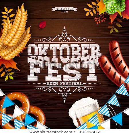 Oktoberfest Illustration with typography lettering, sausage and fork on vintage wood background. Hol Stock photo © articular