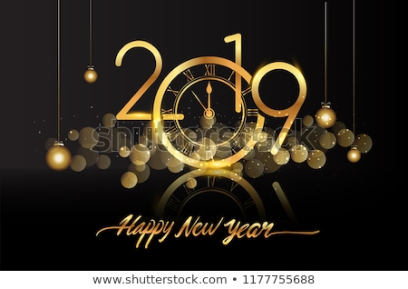2019 Happy New Year illustration with shiny gold number and snowflake on blue background. Holiday de Stock photo © articular