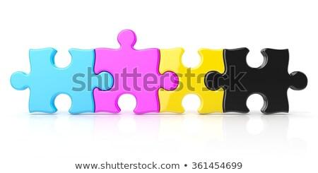 quatro · cor · peças · do · puzzle · isolado · branco - foto stock © djmilic
