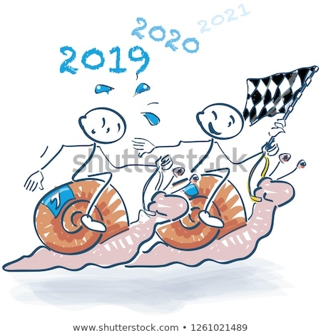 Stick figures in the snail race into the new year Stock photo © Ustofre9