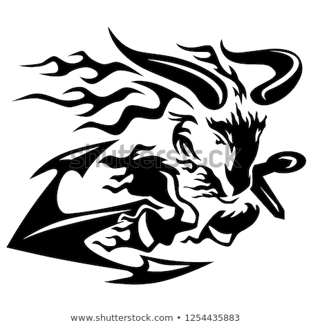 Goat Ram with Ships Anchor Black Line Drawing Vector Illustration Stock photo © jeff_hobrath