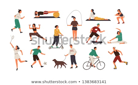 Skating Person on Scooter Set Vector Illustration Stock photo © robuart