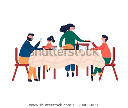 Christmas Family People Dining by Table Vector Stock photo © robuart