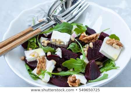 Beetroot, goats cheese and walnut appetizers Stock photo © boggy