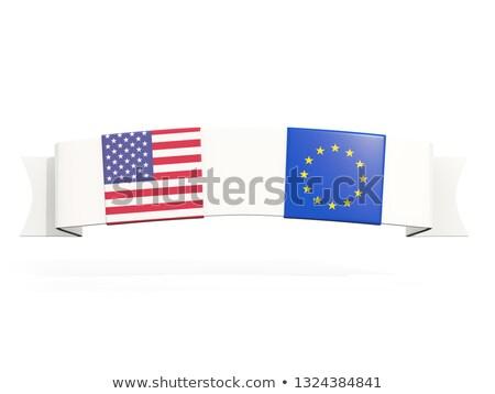 баннер два квадратный флагами Соединенные Штаты Евросоюз Сток-фото © MikhailMishchenko
