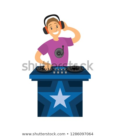 DJ Smiling Boy Character Mixer Making Music Vector Stock photo © robuart