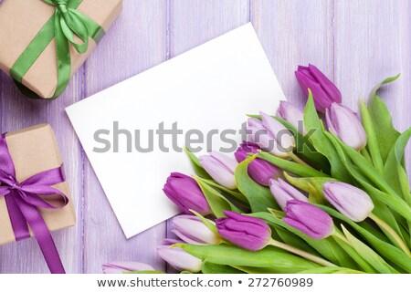 Purple · тюльпаны · деревянный · стол · пространстве · Пасха · цветы - Сток-фото © karandaev