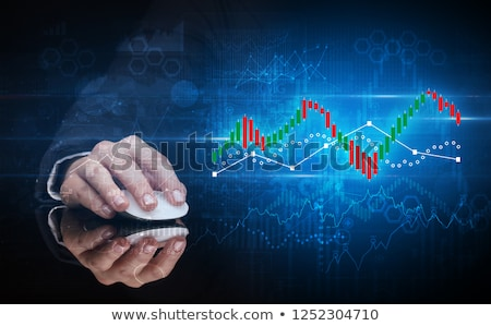 Hand using mouse with statistical concept Stock photo © ra2studio