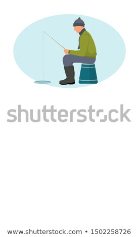 Visser ijs gat winter vissen poster Stockfoto © robuart