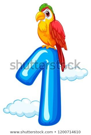 Een papegaai hemel sjabloon illustratie natuur Stockfoto © colematt